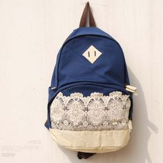 High Quality Blue Fresh Lace Backpack Canvas Backpack School Bag $29.90