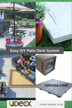 UDECX is a modular, portable and easy to install DIY patio/decking system that transforms your outdoor living space in hours! #patiodecoratingideas #patioideasonabudget #decksandpatios #decks #decksideas #outdoorpatio #outdoorpatioideas