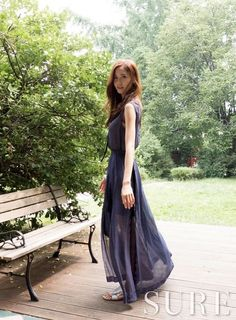 SNSD Yoona in a wispy chiffon dress for 'Sure' magazine August 2014. More pics: http://www.wgsnsdfx.com/2014/07/snsd-yoona-for-sure-magazine-pictures.html