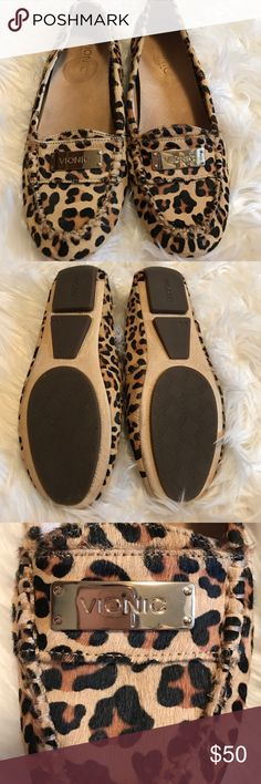 Vionic Leopard Loafers Size 6 but I wear a 6.5 and they fit. Super comfortable Orthaheel Technology. Worn one time! In excellent condition! Vionic Shoes Flats & Loafers