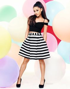 Ariana Grande For Lipsy Stripe Prom Skirt