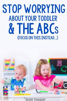 TODDLERS LEARNING ABCS: What do you do if you toddler isn't interested in learning their ABCs? How do you teach a toddler the alphabet? Should toddlers be learning their ABCs? by Busy Toddler Preschool At Home, Preschool Kindergarten, Toddler Preschool, Toddler Learning, Teaching Kids, Infant Activities, Preschool Activities, Alphabet For Toddlers, Writing Prompts For Kids