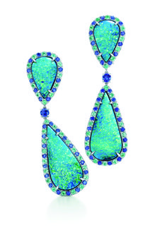 Tiffany & Co.  Black Opal and Gemstone Earrings with tourmalines and sapphires set in platinum