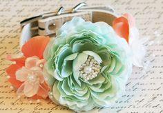 Peach and Mint Floral Dog Collar, Pet Wedding Accessory, Spring wedding, Floral Collar, Peach and Mint Wedding idea, Dog Lovers