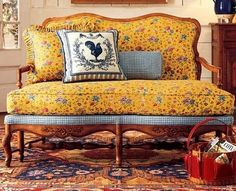 OMG - Pierre Deux - Love the sofa (especially the shape, carving, and blue gingham with yellow print)...pillow...carpet...colors...