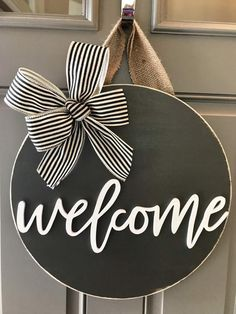 Welcome Door Hanger Front Door Sign Front Door Decor | Etsy