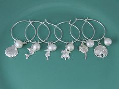 Sterling Silver Beach Theme Wine Charms with by JetSilverBeads, $58.00