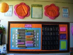 A Colorful Sixth Grade Classroom - what i really LOVE are the egg cartons with plastic eggs showing fractions - genious!