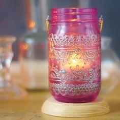 Bohemian Home Decor Mason Jar Lantern, Moroccan Inspired Magenta Glass with Silver Detailing Mason Jar Lanterns, Mason Jars, Jar Candle, Pots, Moroccan Home Decor, Tattoo Supplies, Paper Lanterns, Desk Accessories, Home Crafts