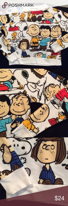 Peanuts Character Sweatshirt Peanuts Character Cropped Long Sleeve Sweatshirt,  States medium fits like a small. Super cute and in excellent condition. Great Christmas gift for that Peanuts Fan... could be a kids large also. Peanuts Tops Sweatshirts & Hoodies