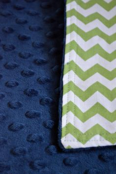 Navy Blue MInky Dot and Lime Green Chevron Blanket by SewGreatful, $24.00