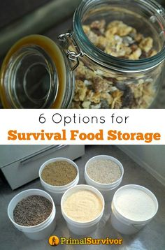 6 Options for Survival Food Storage Containers. The subject of which containers are best for long-term food storage is really controversial.  The only thing that people seem to agree on is that food storage container matters!  If you are choosing storage containers for your survival food, the last thing you want is to find your emergency food has gone bad because of improper storage containers