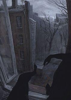 """""""Он подошел к окну, дернул шпингалет и отворил одну створку. Холодный ветер ворвался в комнату, изгоняя затхлый запах нежилого места. Скомканные облака нависали над самыми окнами, по-вечернему затеняя день. Он вытер пыль с подоконника, сел на него и закурил, расслабляясь. Выкинул окурок и прислушался. Коридор гудел голосами. Песни Дома и его шорохи…."""""""