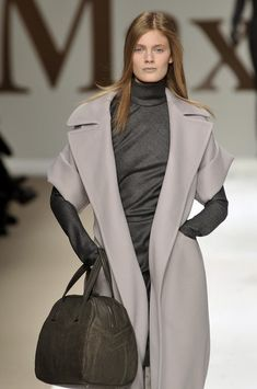 Beautiful grey tones. MaxMara coat, dress and bag. Fall 2009