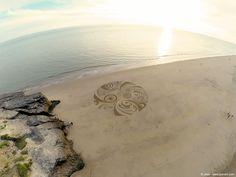 Land art, sand art, landscape art, sand drawing, playa painting, gopro, beach, dji phantom