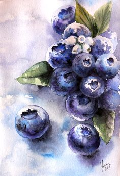 Original watercolor painting of yummy blueberries by Yana Shvets. Painted on Arches, 300 gsm, cotton paper. Print of this artwork is available. More paintings by this artist on official website. Food Art Painting, Watercolor Paintings For Sale, Fruit Painting, Original Paintings For Sale, Watercolor Drawing, Drawing Art, Watercolor Fruit, Watercolor Flowers, Art Sketches