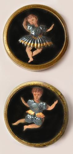 Rare 19th-century French buttons with tiny dancing figures