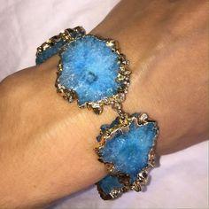 Unique Agate Wristlet 24k gold filled . Blue Agate !  Celebrity 7 Jewelry