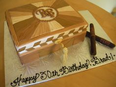 images of cigar cakes | cigar cake | Main Made Custom Cakes- vintage trunk w/ initials and cigars on side?**
