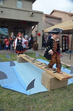 Walk the Plank! Great for pirate party, shark party, etc. Pirate Day, Pirate Theme, Pirate Party Games, Pirate Activities, Pirate Party Decorations, Pirate Games For Kids, Pirate Decor, Pirates For Kids, Pirate Food