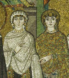 Dame, dettaglio di Teodora e le sue dame, Basilica di San Vitale, 547, Ravenna