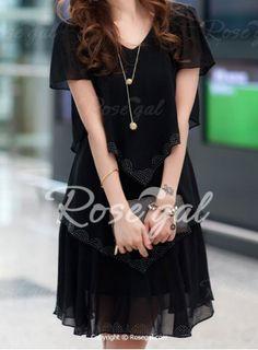 Stylish V-Neck Short Sleeve Multi-Layered Women's Dress