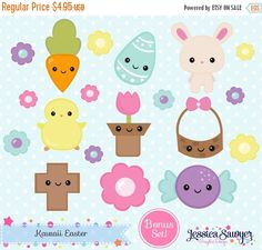 80% OFF - Kawaii Easter Clipart and Vectors for personal and commercial use