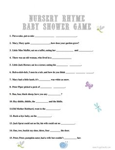 Baby Shower Games: Nursery Rhyme