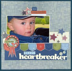 Heartbreaker by Adorable scrapbook page layout Baby Scrapbook Pages, Baby Boy Scrapbook, Scrapbook Supplies, Scrapbook Cards, Scrapbooking Ideas, Scrapbook Designs, Scrapbook Sketches, Scrapbook Page Layouts, Creative Memories