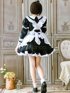 Maid Lolita Outfit Lace Ruffle Bow Lolita One Piece Dress With Apron Maid Outfit, Maid Dress, Anime Cosplay Girls, Anime Girls, French Maid Lingerie, Lolita Hair, Maid Cosplay, Gothic Lolita Fashion, Lace Ruffle