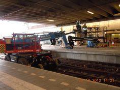 Working on the railroad, renovating platform Utrecht Central Station the Netherlands 20 October 2012