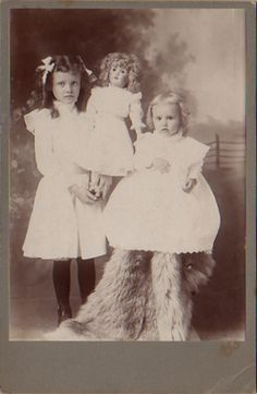 2 girls w/doll cabinet card by smieglitz, via Flickr