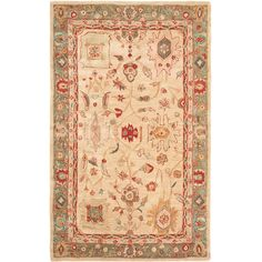 Safavieh Hand-made Oushak Beige/ Green Hand-spun Wool Rug (5' x 8')