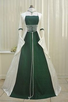 elizabethan gowns celtic | Medieval Renaissance Celtic Wedding Dress Pagan Handfasting Gown 18 20 ...