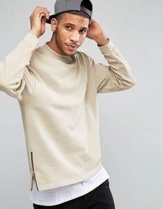 ASOS Oversized Sweatshirt With Side Zips In Beige