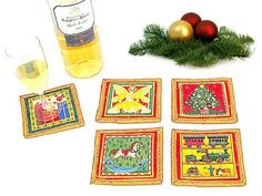Sparkle gold Christmas fabric red coasters mat  Set of by SABDECO