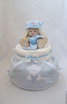 """Купить Торт из памперсов """"Любимая игрушка"""" - голубой, торт из памперсов, торт из подгузников"""