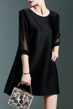 Chiffon Spliced Black Mini Dress