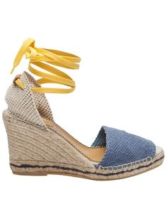 Espadrille wedge with tie in blue and yellow from See by Chloe.