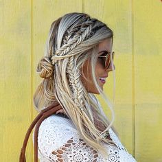 Messy, Boho Fishtail Half Updo