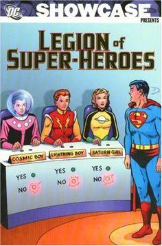 Showcase Presents: Legion of Super-Heroes, Vol. 1 (B&W) Dc Comic Books, Comic Book Covers, Superman, Saturn Girl, Cosmic Boy, Legion Of Superheroes, Classic Comics, Dc Heroes, Fiction Books