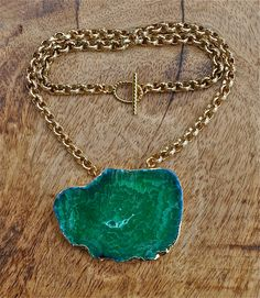 Green agate slice necklace, summer trends, spring trends, may gifts, unique jewelry, handmade gifts, graduation gifts, gifts for her, gold by LolaBelleGems on Etsy