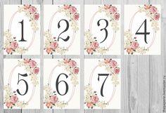 Купить Номера столов винтажные цветы - бледно-розовый, номера столов, номер стола