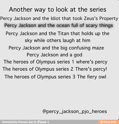 Lol i love the one Percy Jackson a titan who holds up the sky while the others laugh at him .... Its true though