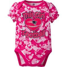 NFL New England Patriots Baby Girls Short Sleeve Heart Camo Bodysuit, Infant Girl's, Size: 18 Months, Pink