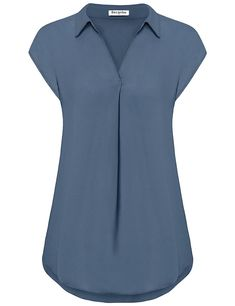 Women's Clothing, Tops & Tees, Blouses & Button-Down Shirts, Women's Chiffon Blouse V Neck Cap Sleeve Casual Blouses Top - Blue Grey - Source by zrinecom clothes tops Dress Shirts For Women, Blouses For Women, Casual Tops For Women, Modest Outfits, Casual Outfits, Bluse Outfit, Stylish Dresses For Girls, Looks Plus Size, Blouse Styles