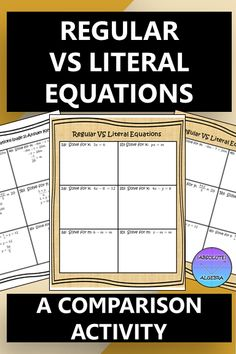 How often do your Algebra I or 8th grade students get confused when trying to solve a literal equation? This worksheet activity will help your students understand how to solve a literal equation by seeing both a regular equation and a literal equation side-by-side. This resource also includes an activity that uses writing in math. Students choose one of the problems to solve and write in words what they did in a step-by-step format. #writing in math #literal equations #literal #Algebra I School Resources, Math Resources, Math Activities, 8th Grade Math, Eighth Grade, Algebra 1, Calculus, Literal Equations, Secondary Math