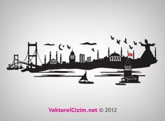 Vektörel Çizim | İstanbul Silüeti, Semazen