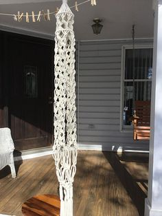 Macrame hanging table in jute or off white colored 6 mm Poly