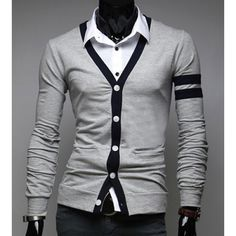 Stylish V-Neck Color Block Stripes Purfled Design Long Sleeves Cotton Blend Cardigan For Men, GRAY, M in Cardigans & Sweaters | DressLily.com